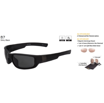 Switch B7 Shiny Black / True Color Grey Non Reflection Polarized Glare Kit Sunglasses