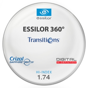 Essilor Essilor 360 Transitions® SIGNATURE 8 - Hi-Index 1.74 With Crizal Sapphire AR Lenses