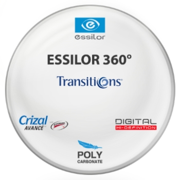 Essilor Essilor 360 Digital Transitions® 8™ (Graphite Green) Polycarbonate w/ Crizal Avancé AR Lenses