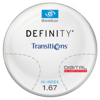 Essilor Definity® Digital by Essilor Transitions® SIGNATURE 8 - [Gray or Brown] Hi-Index 1.67 Progressive Lenses