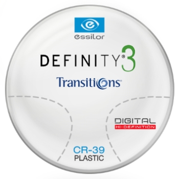 Essilor Definity® 3 Digital by Essilor Transitions® SIGNATURE 8 - [Gray or Brown] Plastic CR-39 Progressives Lenses