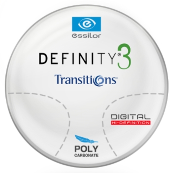 Essilor Definity® 3 Digital by Essilor Transitions® SIGNATURE 8 - [Gray or Brown] Polycarbonate Progressive Lenses