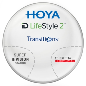 Hoya Hoyalux iD Harmony Transitions® SIGNATURE VII - [Gray or Brown] Plastic CR-39 Progressive W/ Hoya Super Hi Vision AR Lenses