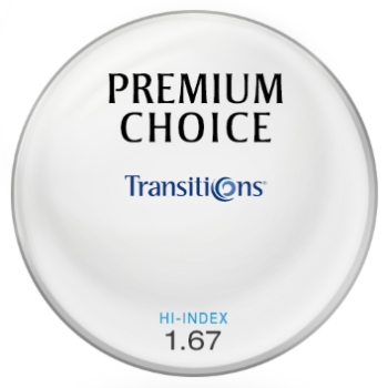 Premium Choice Transitions® SIGNATURE 8 - [Gray] Hi-Index 1.67 Plastic Lenses