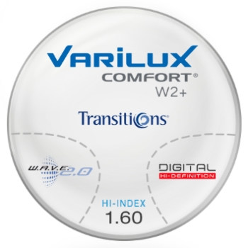Varilux Varilux Comfort W2+ Transitions® SIGNATURE VII [Grey or Brown] Thin & Lite Hi-Index 1.60 Progressive Lenses