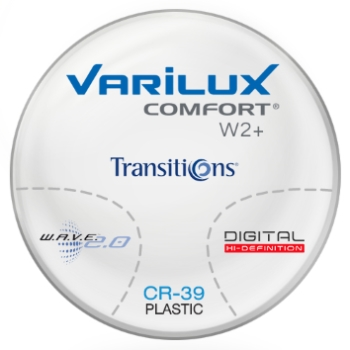 Varilux Varilux Comfort W2+ Transitions® Signature VII™ (Gray, Brown or Green) Plastic CR-39 Progressive Lenses