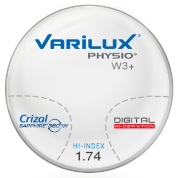 Varilux Varilux Physio W3+ High INDEX 1.74 W/Crizal Sapphire AR Progressive Lenses