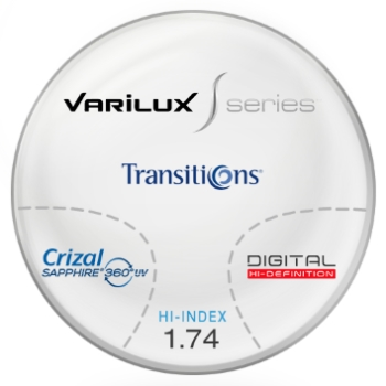 Varilux S Design Transitions® SIGNATURE VII [Grey or Brown] Hi-Index 1.74 Progessive W/ Crizal Saphire AR Coating Lenses