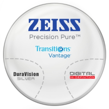 Zeiss Zeiss® Precision Pure™ Transitions® Vantage™ Polarizing Gray - Polycarbonate Progressive Lenses