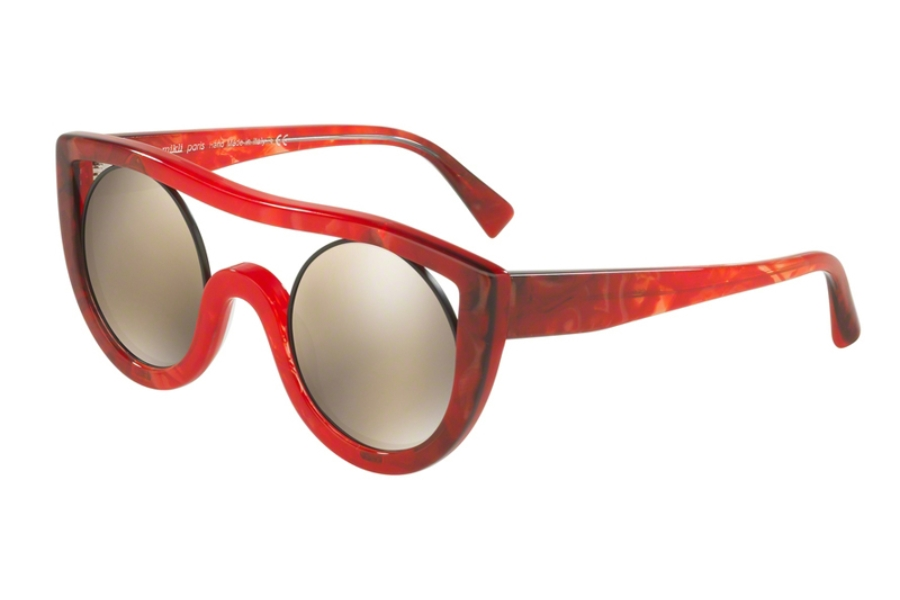 Alain Mikli A05034 Sunglasses in 002/6G Red Grey/Light Brown Mirror Gold