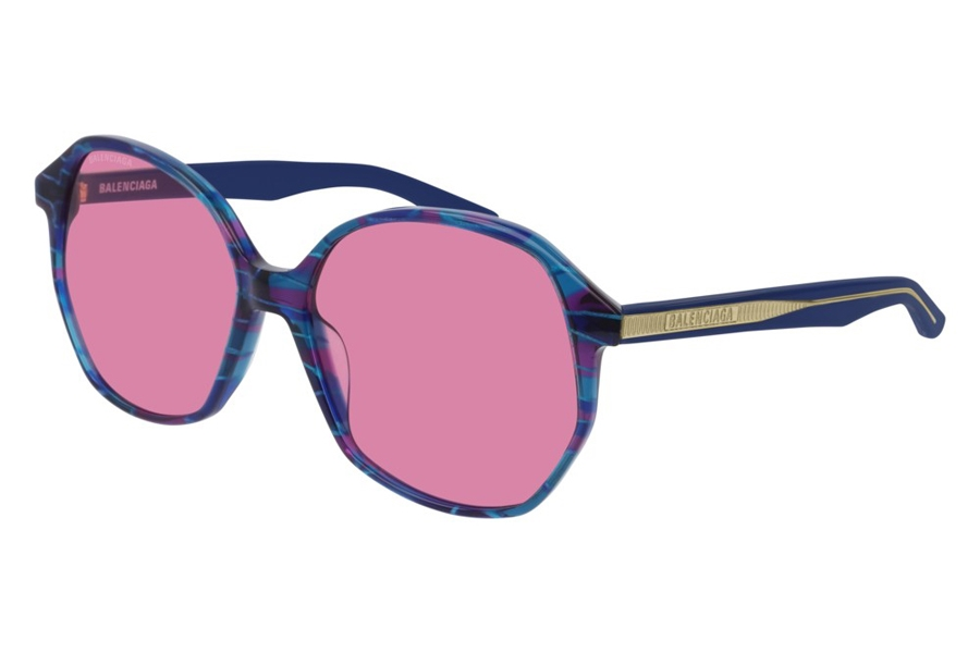 Balenciaga BB0005S Sunglasses in 003 Multicolor Crystal/Pink