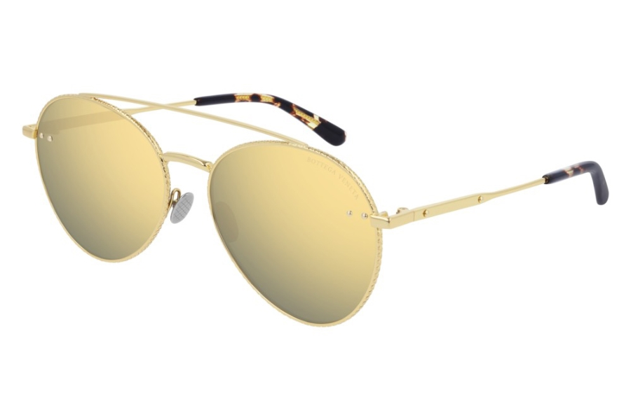 Bottega Veneta BV0258S Sunglasses in 003 Gold w/Gold Mirror
