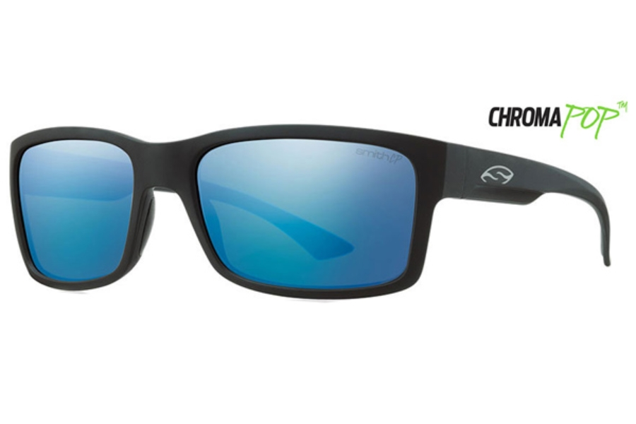 Smith Optics Dolen Sunglasses in 0DL5 Matte Black / ChromaPop Polarized Blue Mirror