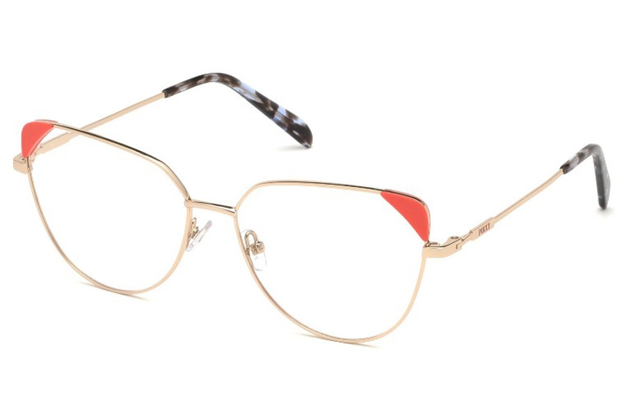 Emilio Pucci EP5112 Eyeglasses in 028 - Shiny Rose Gold, Coral Front Detail, Blue Havana Tips- Ss19 Adv. Style