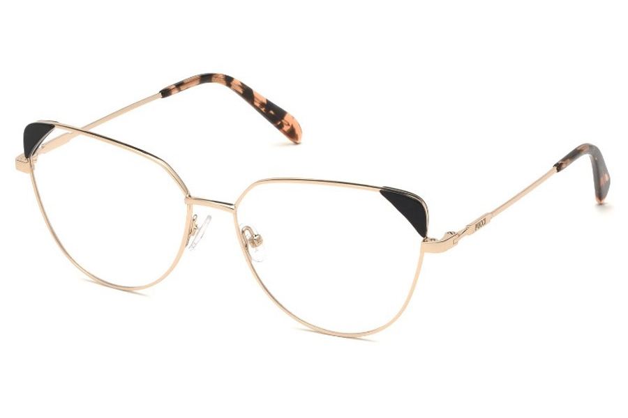 Emilio Pucci EP5112 Eyeglasses in 033 - Shiny Rose Gold, Black Front Detail, Havana Tips