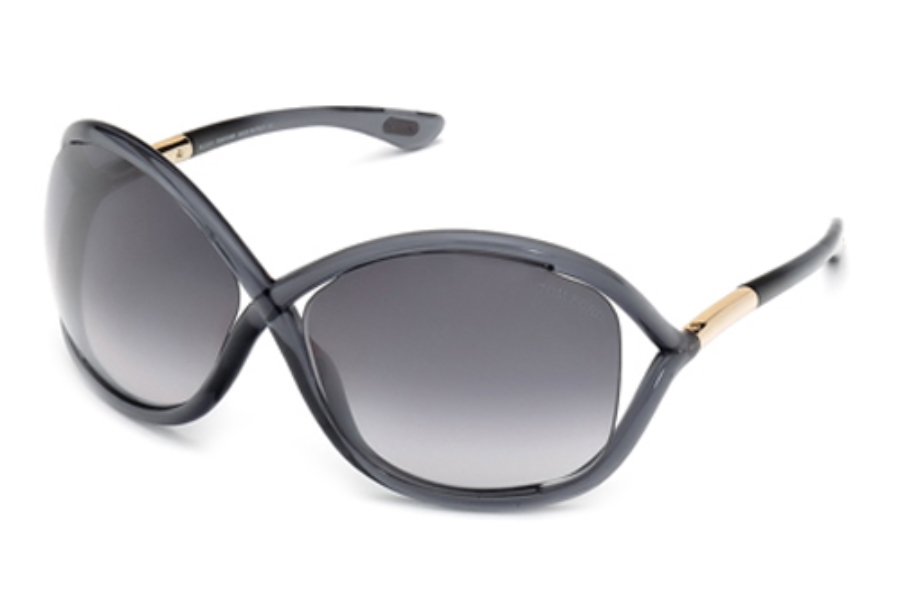 Tom Ford FT0009 Whitney Sunglasses in 0B5 Shiny Transparent Dark Grey/Rose Gold Metal w/ Gradient Smoke Lenses