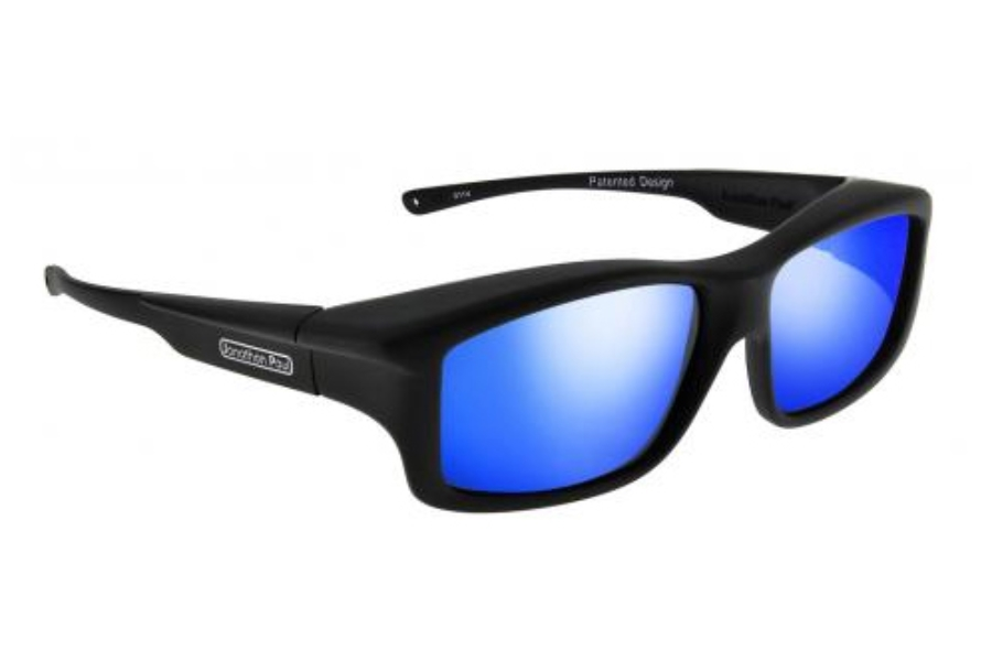 Fitovers Yamba Sunglasses in YM001BM Satin Black w/ Polycarbonate Blue Mirror Lenses