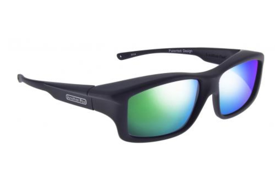 Fitovers Yamba Sunglasses in YM001GM Satin Black w/ Polycarbonate Green Mirror Lenses