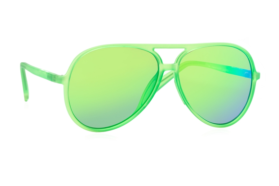 Italia Independent 0402 Sunglasses in 033 Green Led w/ Green / Mirrored