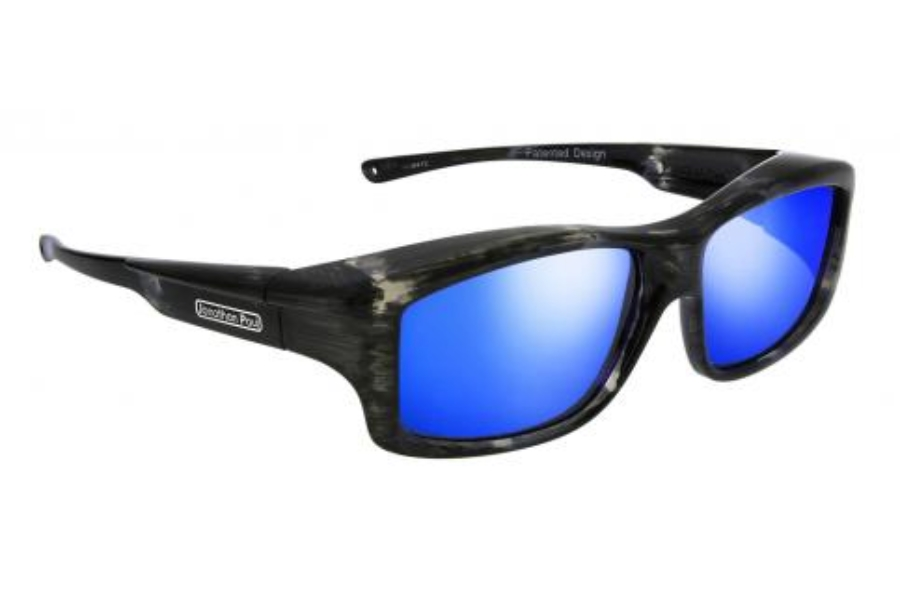 Fitovers Yamba Sunglasses in YM002BM Blue Marble w/ Polycarbonate Blue Mirror Lens