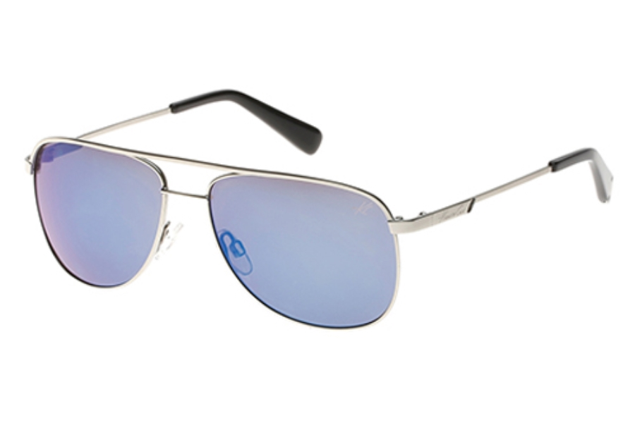 Kenneth Cole New York KC7153 Sunglasses in 10C Shiny Light Nickeltin / Smoke Mirror