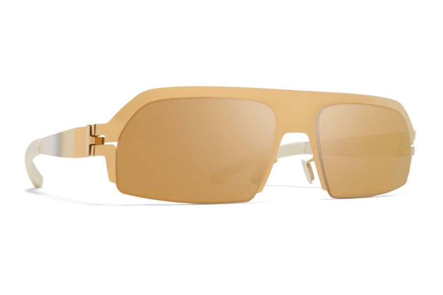 Mykita Lost Sunglasses in Glossy Gold/Chantilly White w/Gold Flash