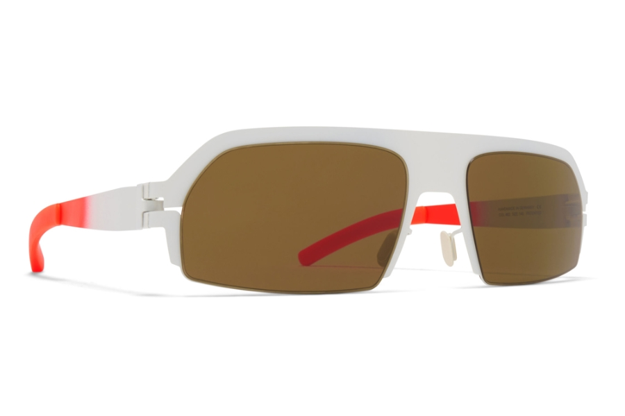 Mykita Lost Sunglasses in Talc/Fluo Red w/Raw Brown Solid
