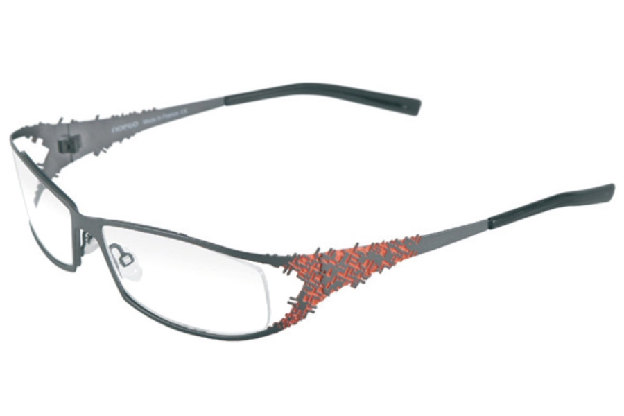 Noego Virus 5 Eyeglasses in C51 Gun + Orange