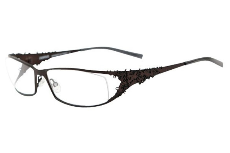 Noego Virus 5 Eyeglasses in C89 Choco + Black