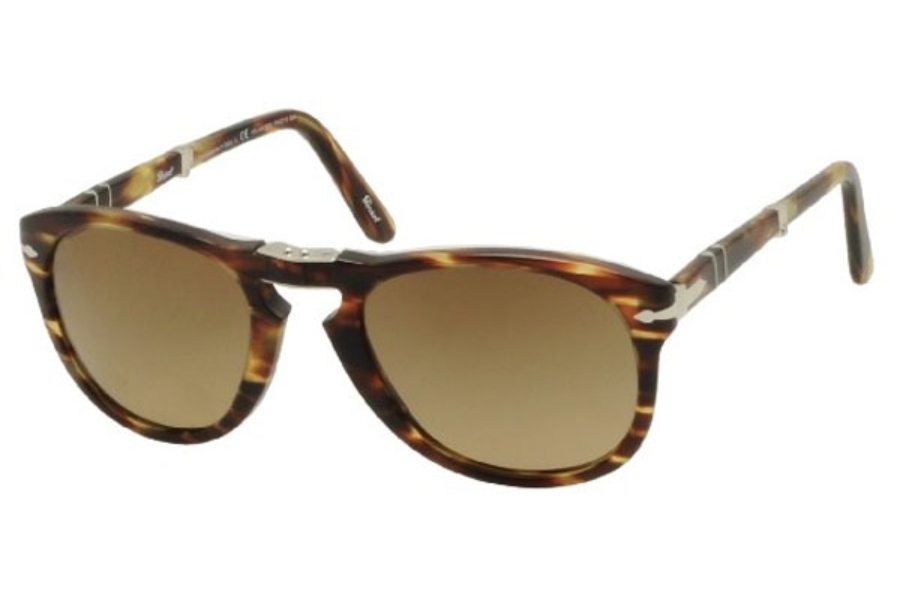 Persol PO 0714 Folding Sunglasses in 938/81 Green Striped Brown Crystal Polar Brown Gradient (Discontinued)