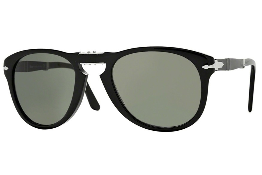 Persol PO 0714 Folding Sunglasses in 95/31 Black / Crystal Green