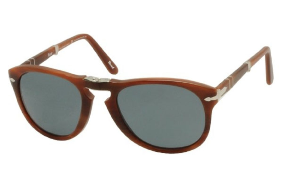 Persol PO 0714 Folding Sunglasses in 957/4N Brown Crystal Blue Photo Polar (Discontinued)