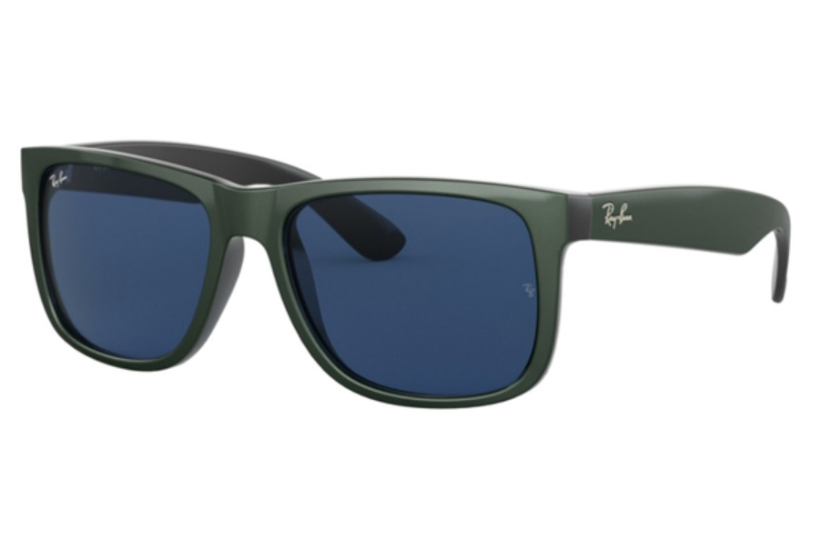 Ray-Ban RB 4165 JUSTIN Sunglasses in 646880 Green Metallic On Black / Dark Blue