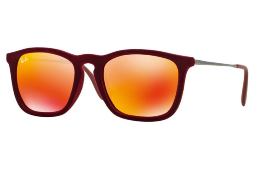 Ray-Ban RB 4187 Sunglasses in 60786Q Flock Bordeaux / Red Multilayer