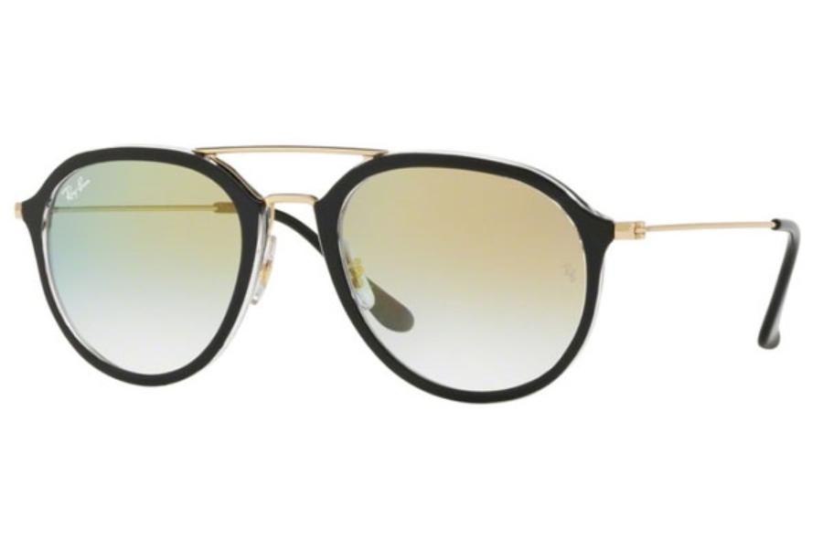 Ray-Ban RB 4253 Sunglasses in 6052Y0 Top Black On Transparent / Clear Gradient Gold