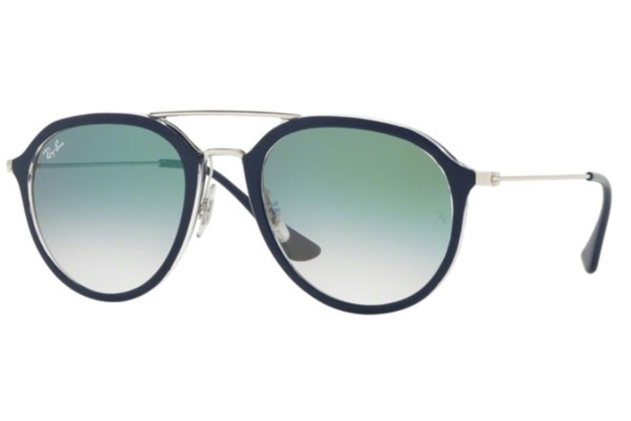 Ray-Ban RB 4253 Sunglasses in 60533A Top Blue On Transparent / Clear Gradient Green
