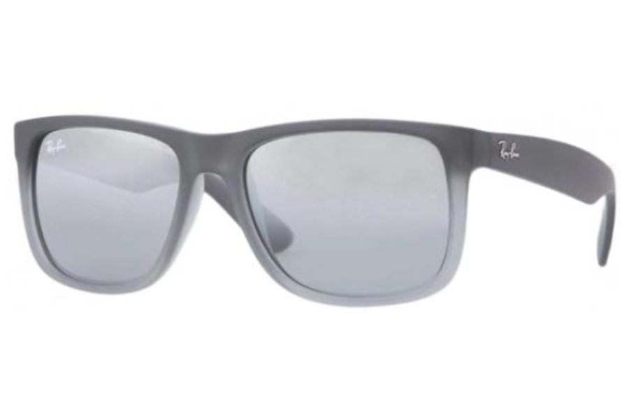 Ray-Ban RB 4165 JUSTIN Sunglasses in 852/88 Rubber Grey/Grey Trasparent Grey Silver Mirror Gradient