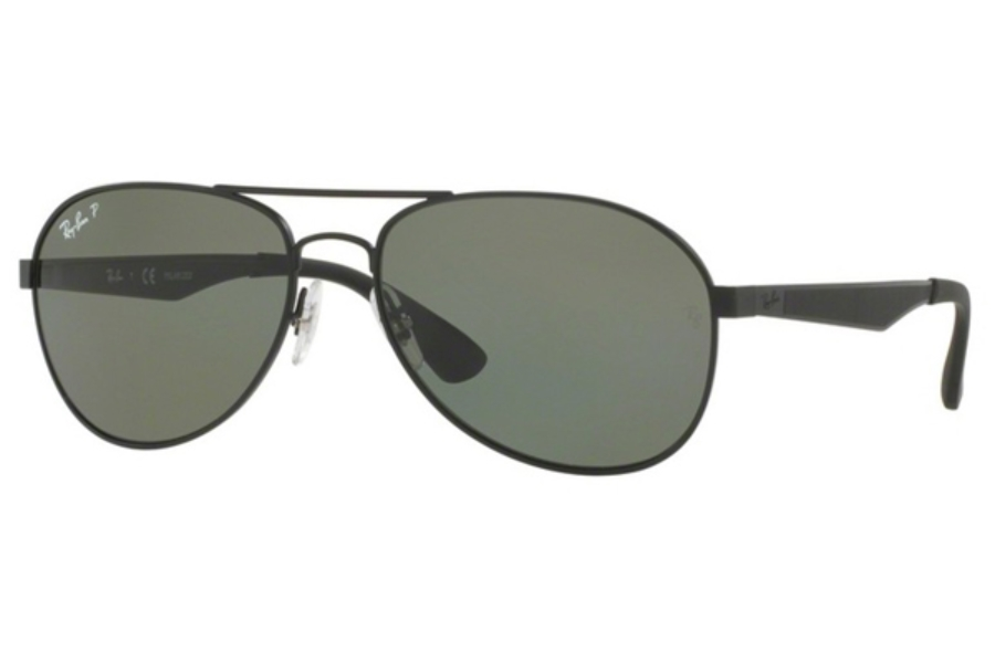 Ray-Ban RB 3549 Sunglasses in 006/9A Matte Black / Polar Green