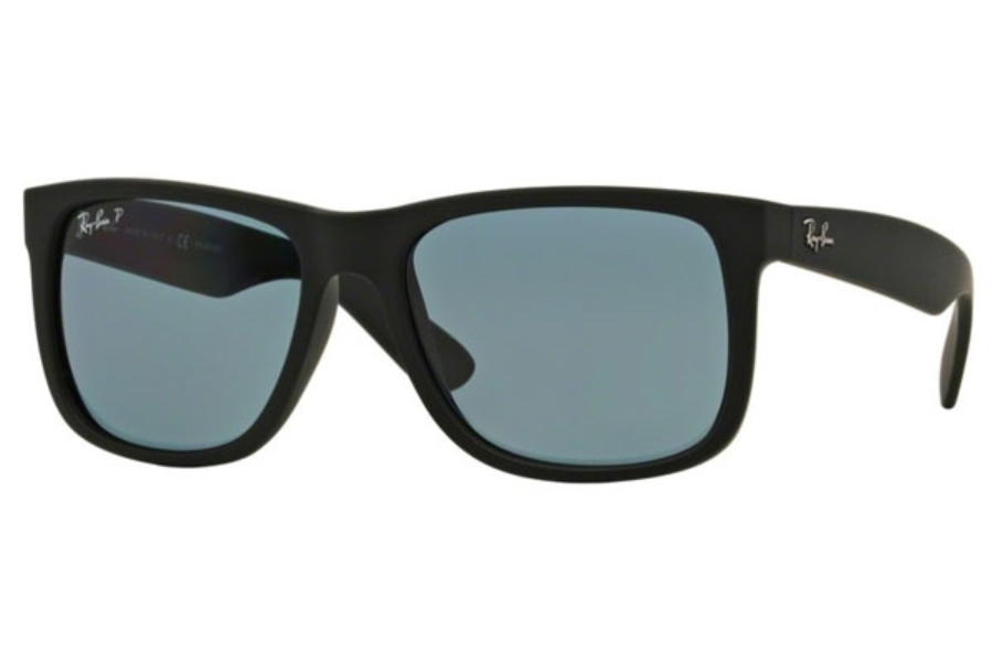 Ray-Ban RB 4165 JUSTIN Sunglasses in 622/2V Black Rubber Dark Blue Polar (55 Eyesize Only)