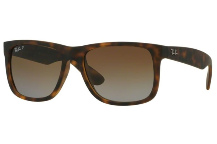 Ray-Ban RB 4165 JUSTIN Sunglasses in 865/T5 Havana Rubber Polar Brown Gradient (55 Eyesize Only)
