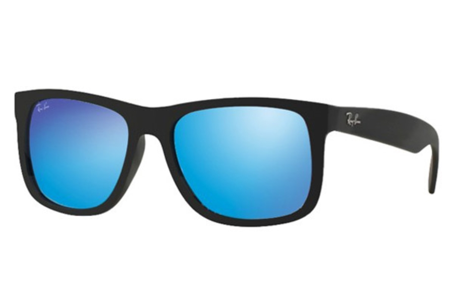 Ray-Ban RB 4165 JUSTIN Sunglasses in 622/55 Black Rubber Green Mirror Blue