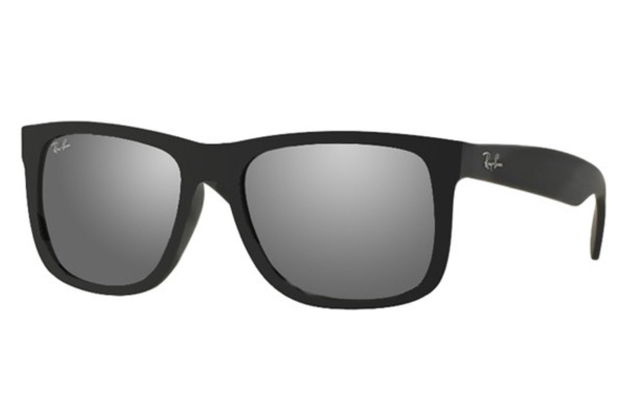 Ray-Ban RB 4165 JUSTIN Sunglasses in 622/6G Rubber Black Grey Mirror Silver