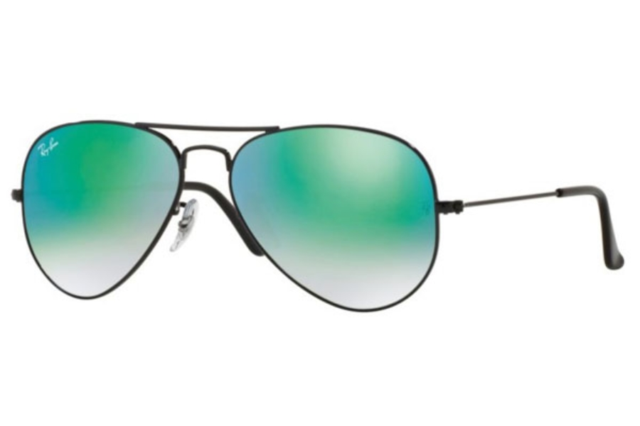 Ray-Ban RB 3025 (Aviator Large Metal) Sunglasses in 002/4J Shiny Black / Mirror Gradient Green