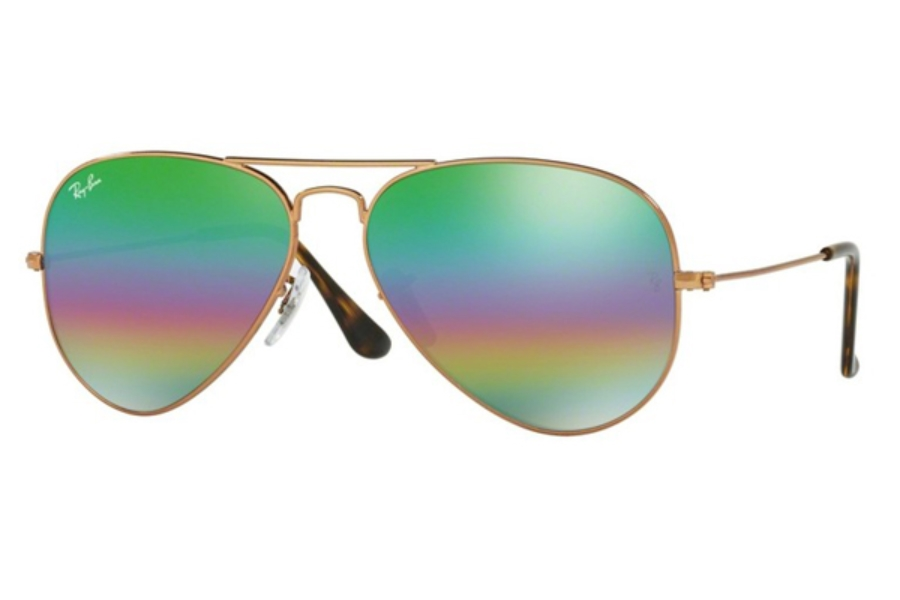 Ray-Ban RB 3025 (Aviator Large Metal) Sunglasses in 9018C3 Metlallic Medium Bronze / Light Grey Mirror Rainbow 2 (58 & 62 Eyesizes Only)