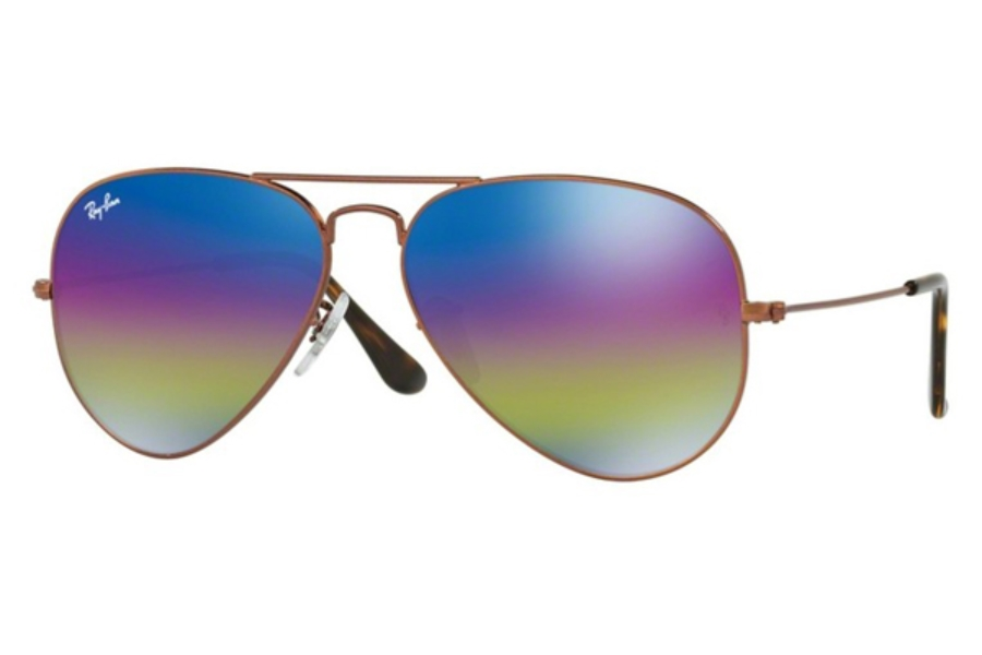 Ray-Ban RB 3025 (Aviator Large Metal) Sunglasses in 9019C2 Metallic Dark Bronze / Light Grey Mirror Rainbow 2 (58 & 62 Eyesizes Only)