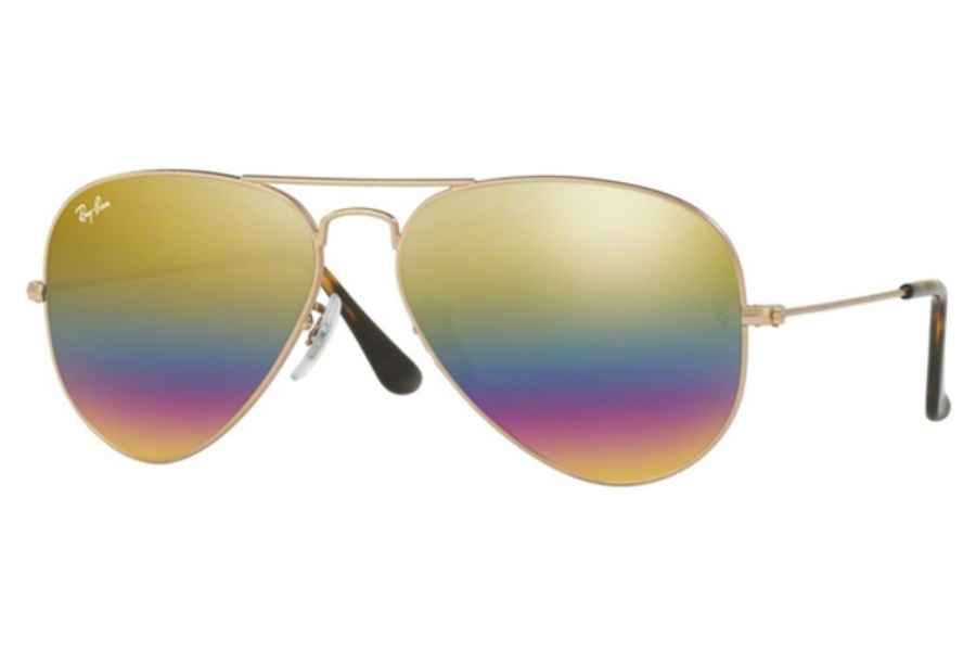 Ray-Ban RB 3025 (Aviator Large Metal) Sunglasses in 9020C4 Metallic Light Bronze / Light Grey Mirror Rainbow 3 (58 & 62 Eyesizes Only)