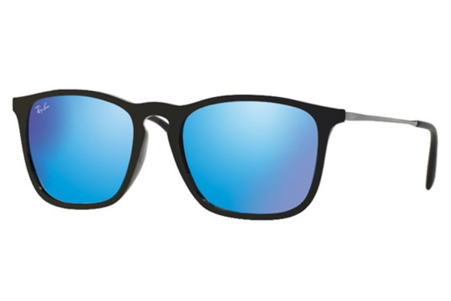Ray-Ban RB 4187 Sunglasses in 601/55 Black Light Green Mirror Blue