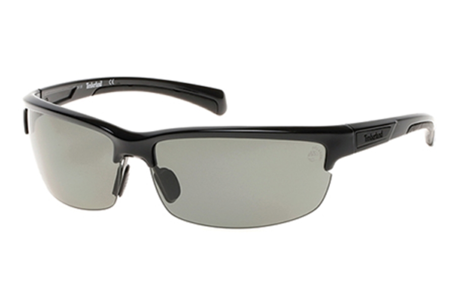 Timberland TB9103 Sunglasses in 01D - Shiny Black / Smoke Polarized
