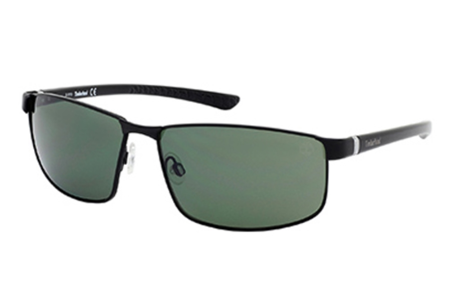 Timberland TB9035 Sunglasses in 02R Matte Black / Green Polarized