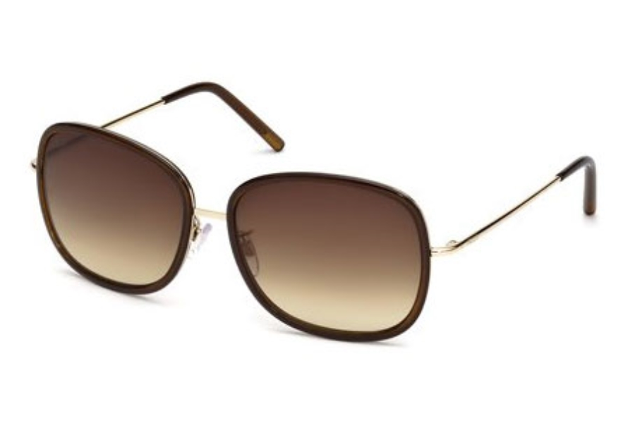Tod's TO 0047 Sunglasses in 48F Shiny Dark Brown / Gradient Brown Lens